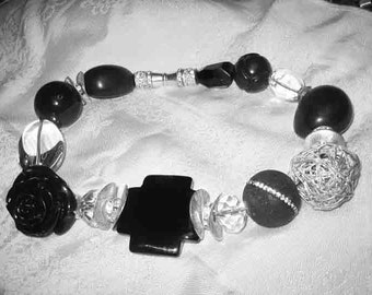 Vintage Big Bold Black & Clear Glass Necklace OH SO DECO