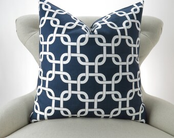NAVY Chain Pillow cover -MANY SIZES- gotcha blue white nautical geometric rope knot throw cushion euro sham Premier Prints