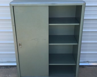 Mid Century Steel Cabinet, Industrial Office Metal Bookcase, Sliding Doors Adjustable Shelves - PICK UP ONLY