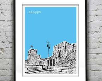 Aleppo Syria Poster Art Print City Skyline Aleppo Citadel