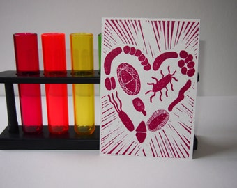 Microbiology science postcard - heart of bacteria