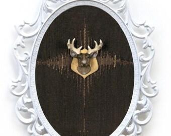 Miniature Deer Head Mount - Faux Taxidermy - in Victorian Frame - 3D Wall Art Decor 7x10in