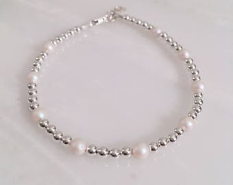 Swarovski Pearls by the Yard Sterling Silver Beaded Bracelet, Swarovski Bracelet, Pearl Bracelet, June Birth Stone
