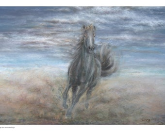 Horse painting horse running galloping horse animal print horse art equine art nature horse print equine print classic horse