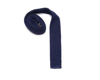 "vintage 50s 60s Superba knit tie square bottom navy blue 100% Dupont Dacron mens necktie 1950 1960 skinny square tie menswear 2"" wide"