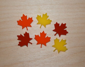 6x laser cut acrylic maple leaves cabochons