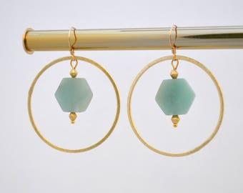 Gold or Silver Amazonite Hoop Circle Dangle Drop Earrings // Gold Filled Hooks // Large Hexagon Gemstone Earrings // Bridesmaids Gift