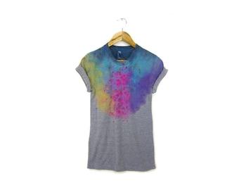 """Grey Spectrum Rainbow Tee - Original """"Splash Dyed"""" Boyfriend Fit Crew Neck T-shirt with Rolled Cuffs in Heather Gray - Womens Size S-5XL"""