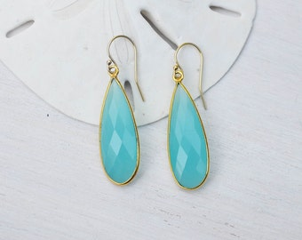 Aqua Blue Chalcedony Earrings, Aqua Blue Chalcedony Teardrop Earrings, Blue Chalcedony Earrings