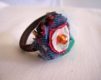 Hair Band - Ponytail Holder Flower Funky Floral Upcycled Scrap Bloom Blue Pink Dread Band