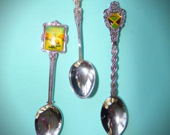 Souvenir Spoons Jamaica.  New Zealand Spoons .Paris France Spoon . Paris Souvenir's . 1970's and 1980s Souvenirs.  silver Plate Spoons .
