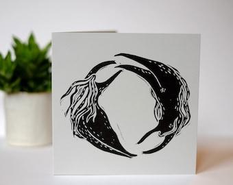 Eternal Circle- handprinted linocut card