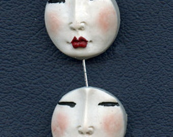 4 White Polymer Detailed  Asian Face  Beads Top drilled WABD 4