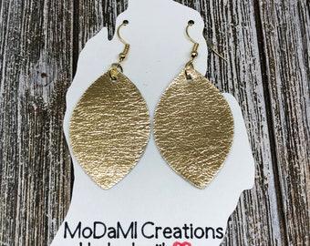 2.5 in, gold, marquise, metallic, Leather earrings, handmade earrings, nickle free, drop earrings, dangle earrings, lightweight
