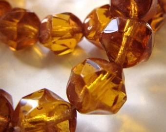 Czech Glass Beads 8mm Honey Topaz Nugget Rounds - 8 Pieces