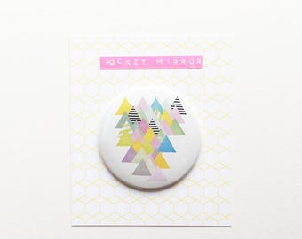 Geometric Abstract Mountain Pocket Mirror 76mm / 3 inches - French Alps