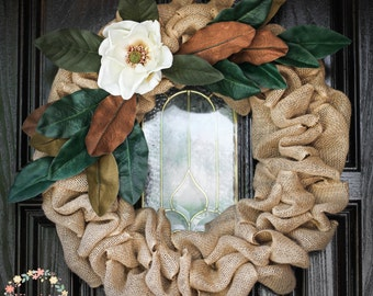 Beautiful Magnolia Burlap Wreath-Magnolia Wreath-Magnolia Leaf Wreath-Farmhouse Magnolia Wreath-Farmhouse Decor-Rustic Country Chic-