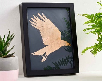 Crow Wall Art, Crow Gift, Crow Design, Crow Design in Frame, Metal Wall Art, Copper Gift, Crow Painting,