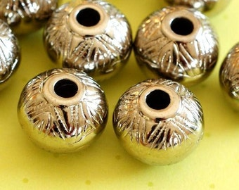 Clearance  - 10pcs Antique Silver Acrylic Beads 15mm