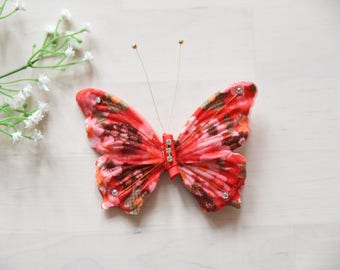 handmade Butterfly hairclip red