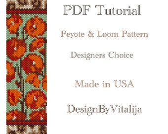 Instant Download Beading Pattern Peyote Stitch Loom Work Pattern Floral Pattern Seed Bead Cuff