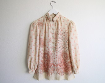 VINTAGE Blouse 1970s Boho Top Paisley Small