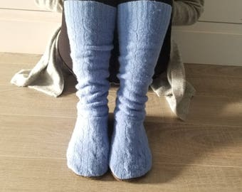 """Warm Wool Sweater Socks // Size 5-8 shoe, 17"""" Tall // Cabin Socks // Thick felted wool sole // Blue Cable Knit"""