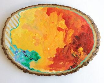 Artifacts of Joy - Marbled Rainbow Artifact Abstract Painting Wood Slice - art - Lauren Strom - Modern Landscape