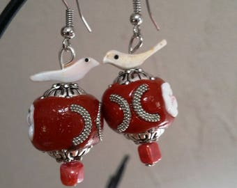 Love birds on red floral kashmiri bead shell earrings