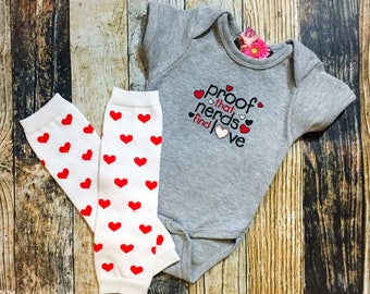 Nerd Valentine's Day Baby Outfit - Proof that Nerds Find Love Embroidered Bodysuit - Heart Leg Warmers - Funny Baby - Personalized