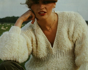 Sweater Knitting Patterns Astrakan Fashion Hand Knits Emu Women Sweater Cardigan Beret Vest Hat Jacket Vintage Paper Original NOT a PDF