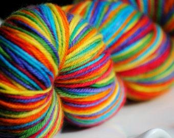 Rainbow - Hand Painted Superwash Merino Yarn - Sporty