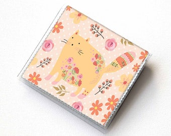 Vinyl Moo Square Card Holder - Flower Cats / kitten, case, vinyl, snap, wallet, mini card case, moo case, floral, flowers, small, vegan