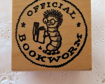 Kidstamps Official Bookworm Rubber Stamp ~ Donald Charles ~ Rare Vintage 1982 Stamp ~ Wood Mounted  (a)
