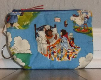 Zip Pouch - Phone Pouch - Cosmetic pouch - zip wallet -Fairy tale fabric- blue - teacher/librarian gift