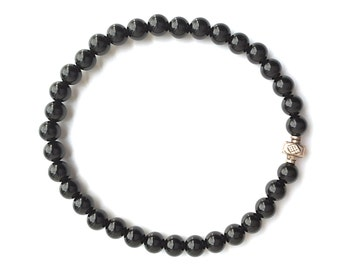 Mens Black Onyx Stone Bead Stretch Bracelet, Sterling Silver Accent Bead, Handmade Jewelry for Men, Fathers Day Gift