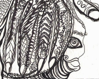 No. 40013, ACEO Art Card Pen and Ink Illustration Zen Doodle Henna Inspired