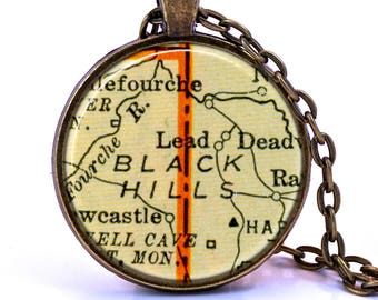 Black Hills, South Dakota Map Pendant Necklace - Created from a vintage map published in 1937.