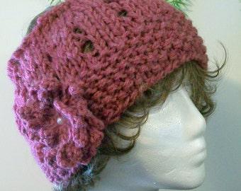 HAT WOMEN KNITTED Half Hat Wide headband Ear warmer     Large Flower Head cover Hat with open top