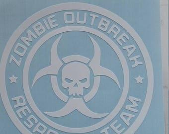 Zombie outbreak response team vinyl decal. Pick color & size. The Walking Dead Inspired. Apocalypse Hazard. Outdoor Vinyl. Biohazard Sticker