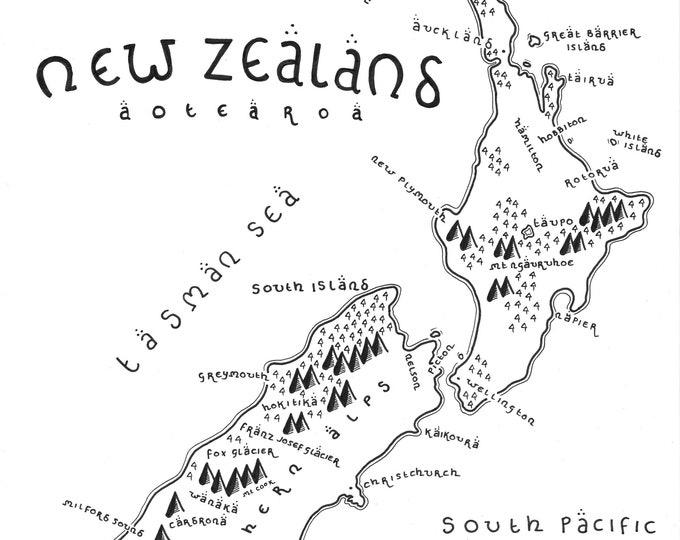 New Zealand - Giclée Print