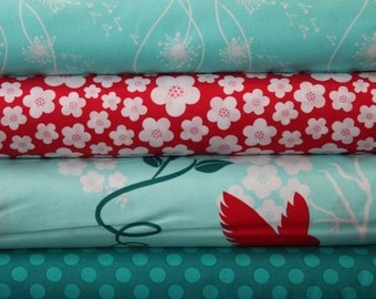 Turquoise Flora and Fauna Half Yard Bundle Fabric 2 yd Set