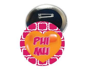 Phi Mu Button - Heart