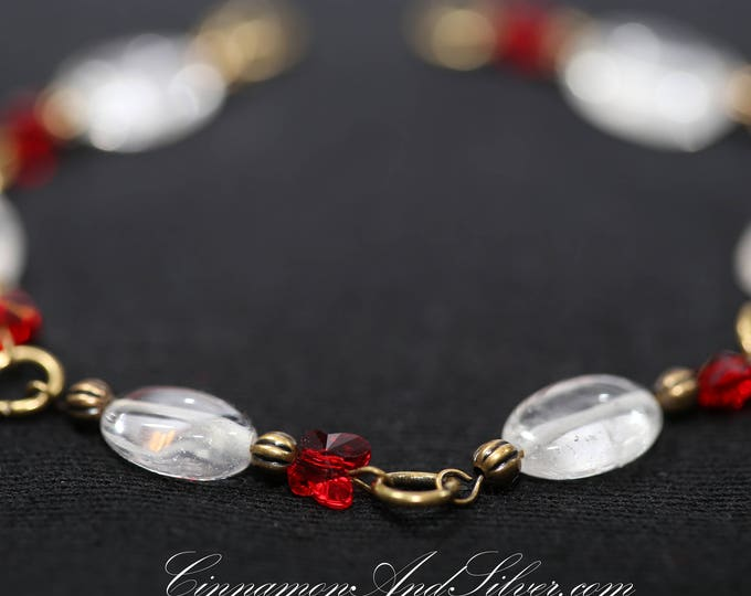 Romantic Victorian Polished Clear Quartz Gemstone with Red Crystal Butterflies and Antiqued Brass Link Bracelet