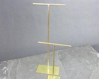 Tall matt satin brushed finish brass earring jewellery display stand