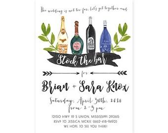 Stock the Bar Invitation, Wedding Shower, Wine Bottle, Printable (685)