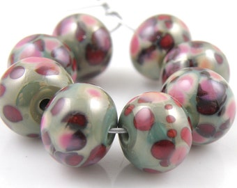 Copper Berries SRA Lampwork Handmade Artisan Glass Donut/Round Beads Made to Order Set of 8 8x12mm