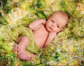 Baby Blanket Photo Props Rug. Garden Green Photography Prop for Newborns Babies Children