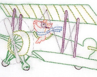 Flying Pig in Biplane Hand Embroidery Pattern PDF