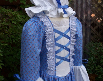 Girls Colonial Dress /Felicity Williamsburg  Costume  ..Plus Mob Cap.. PLEASE read full description.